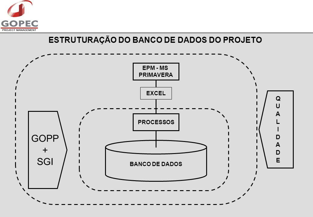 ESTRUTURAÇÃO DO BANCO DE DADOS DO PROJETO PROCESSOS EPM - MS PRIMAVERA BANCO DE DADOS EXCEL GOPP + SGI QUALIDADEQUALIDADE