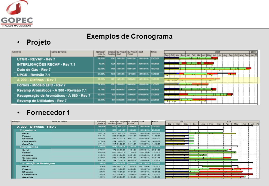 Exemplos de Cronograma Projeto Fornecedor 1
