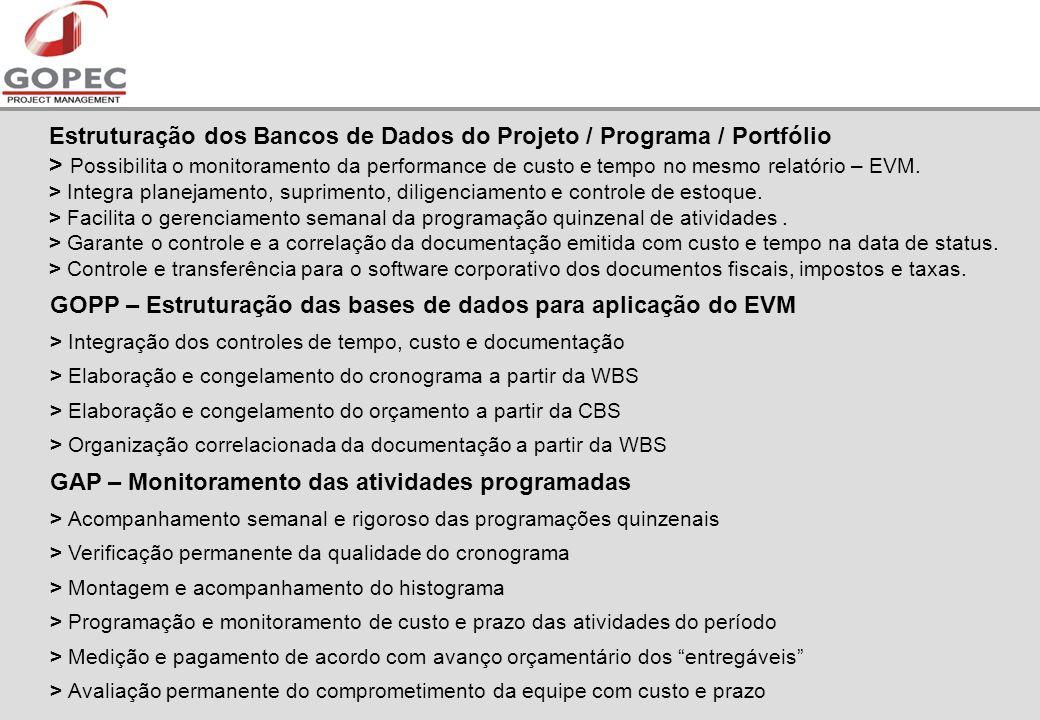 Estruturação dos Bancos de Dados do Projeto / Programa / Portfólio > Possibilita o monitoramento da performance de custo e tempo no mesmo relatório – EVM.
