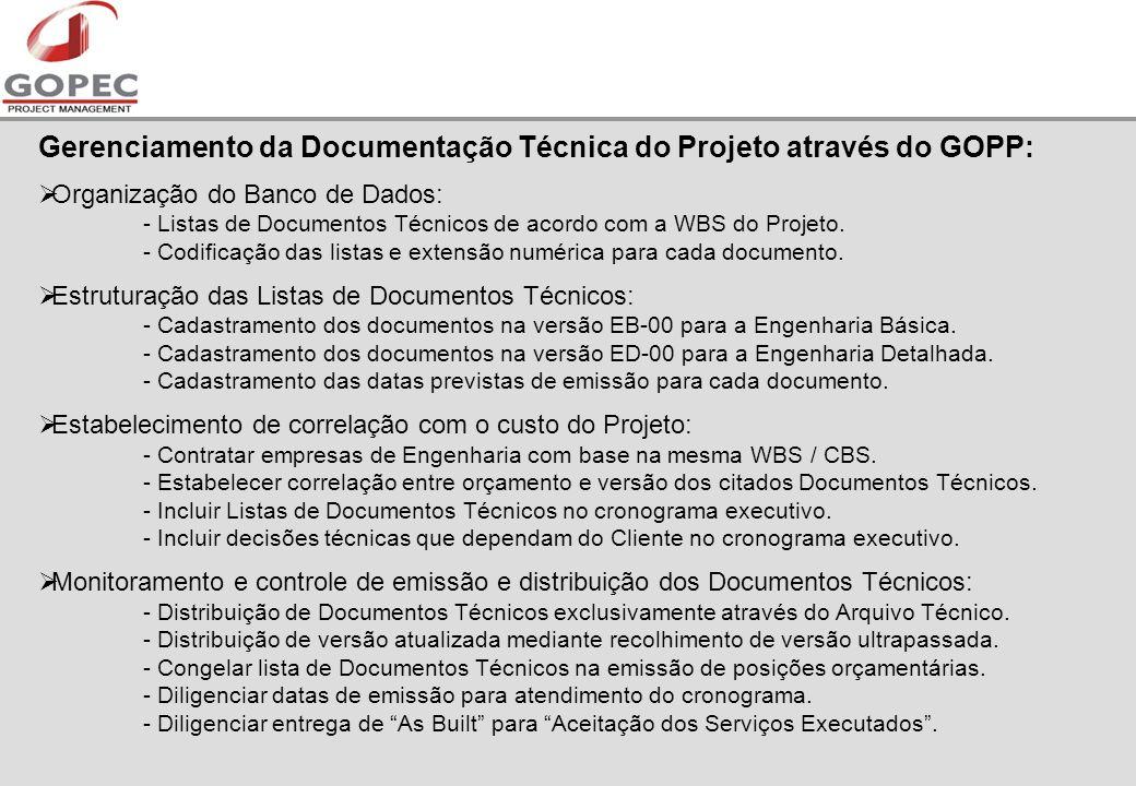 Gerenciamento da Documentação Técnica do Projeto através do GOPP: Organização do Banco de Dados: - Listas de Documentos Técnicos de acordo com a WBS do Projeto.