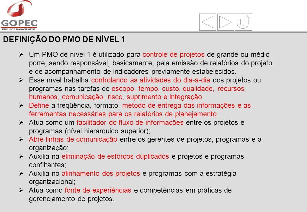 Um PMO de nível 1 é utilizado para controle de projetos de grande ou médio porte, sendo responsável, basicamente, pela emissão de relatórios do projeto e de acompanhamento de indicadores previamente estabelecidos.
