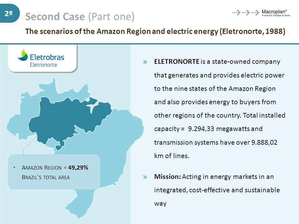 Second Case (Part one) The scenarios of the Amazon Region and electric energy (Eletronorte, 1988) 2º » ELETRONORTE is a state-owned company that gener