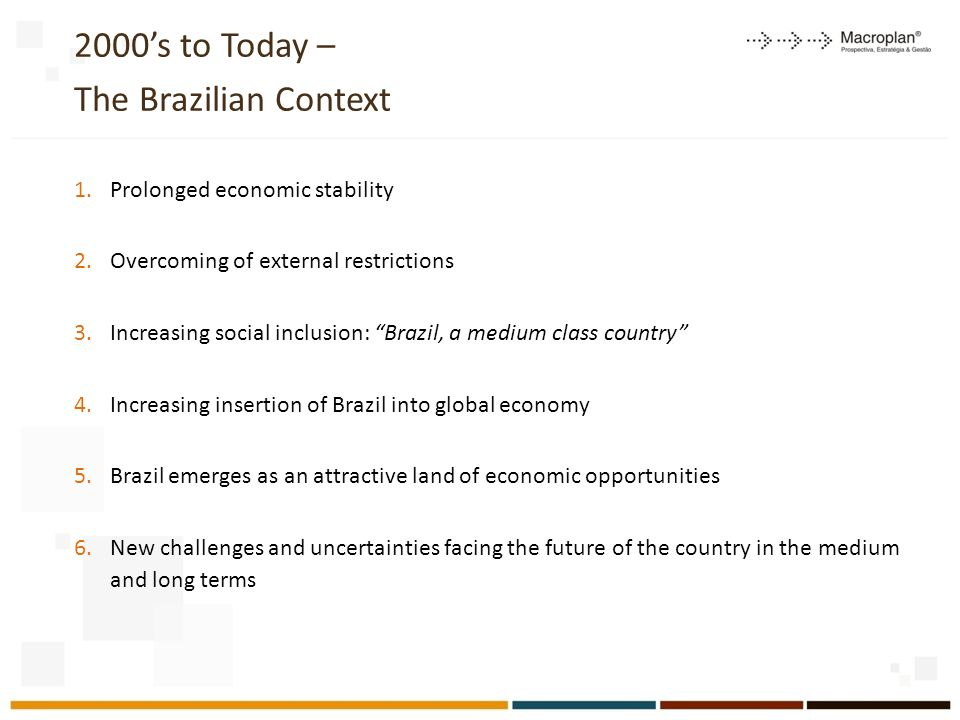 2000s to Today – The Brazilian Context 1.Prolonged economic stability 2.Overcoming of external restrictions 3.Increasing social inclusion: Brazil, a m