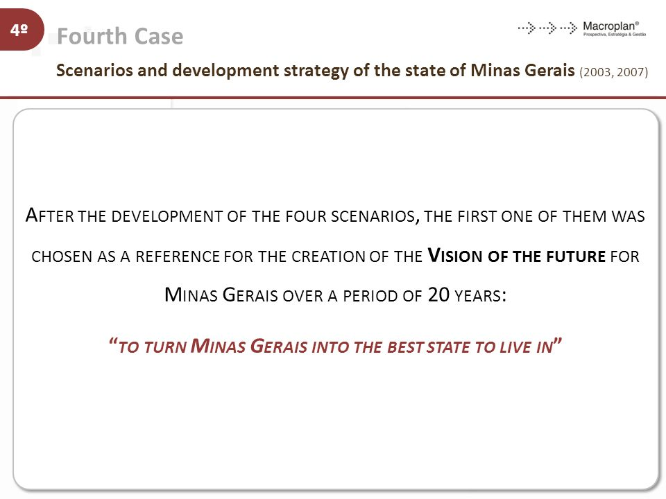Fourth Case Scenarios and development strategy of the state of Minas Gerais (2003, 2007) 4º Strategic Guidelines Projects Strategic Guidelines Project