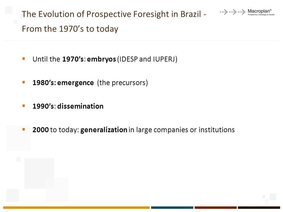 Remarkable Prospective Projects supported by Macroplan 1.Cenários do ambiente de atuação das micro e pequenas empresas do Rio de Janeiro 2012-2013 (2012) 2.Análise de tendências de longo prazo e elaboração do Plano Mineiro de Desenvolvimento Integrado horizonte 2030 (2011) 3.Quatro cenários da cidade de Belo Horizonte 2010-2030 (2009) 4.Cenários do Ambiente de Atuação do do Sistema Eletrobras 2020 (2010) 5.Quatro Cenários Econômicos para o Brasil 2008-2014 6.Cenários Exploratórios do Rio de Janeiro no Horizonte 2007-2027 (2007) 7.Cenários Exploratórios de Minas Gerais no Horizonte 2007-2023 (2007) 8.Cenários do ambiente de atuação das organizações públicas de PD&I do Agronegócio no Horizonte 2023 (Embrapa, 2007) 9.Três Cenários para o Desenvolvimento do Estado do Espírito Santo (2006) 10.O Ensino Superior no Mundo e no Brasil – Condicionantes, Tendências e Cenários para o Horizonte 2003-2025 (2003) 11.