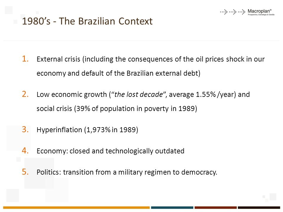 1980s - The Brazilian Context 1. External crisis (including the consequences of the oil prices shock in our economy and default of the Brazilian exter