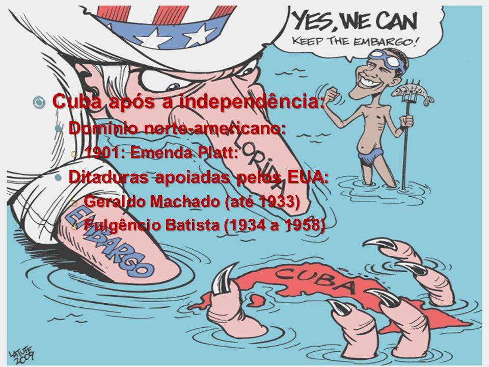 Cuba após a independência: Cuba após a independência: Domínio norte-americano: Domínio norte-americano: 1901: Emenda Platt: 1901: Emenda Platt: Ditadu