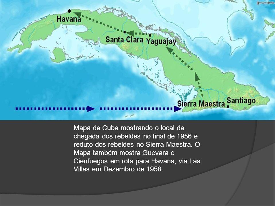 Mapa da Cuba mostrando o local da chegada dos rebeldes no final de 1956 e reduto dos rebeldes no Sierra Maestra. O Mapa também mostra Guevara e Cienfu