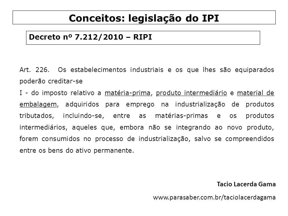 Art. 226. Os estabelecimentos industriais e os que lhes são equiparados poderão creditar-se I - do imposto relativo a matéria-prima, produto intermedi