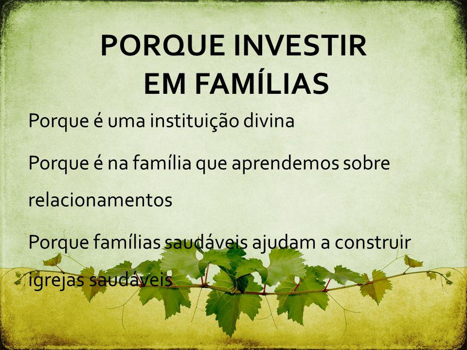PORQUE INVESTIR EM FAMÍLIAS Porque é uma instituição divina Porque é na família que aprendemos sobre relacionamentos Porque famílias saudáveis ajudam
