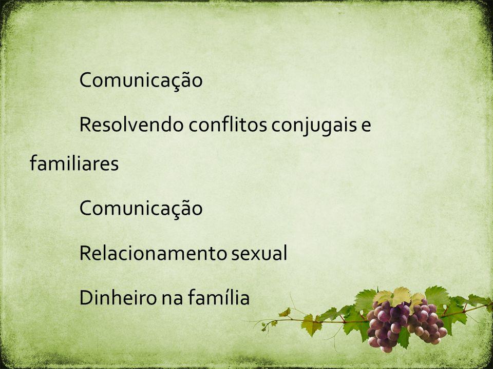 Comunicação Resolvendo conflitos conjugais e familiares Comunicação Relacionamento sexual Dinheiro na família