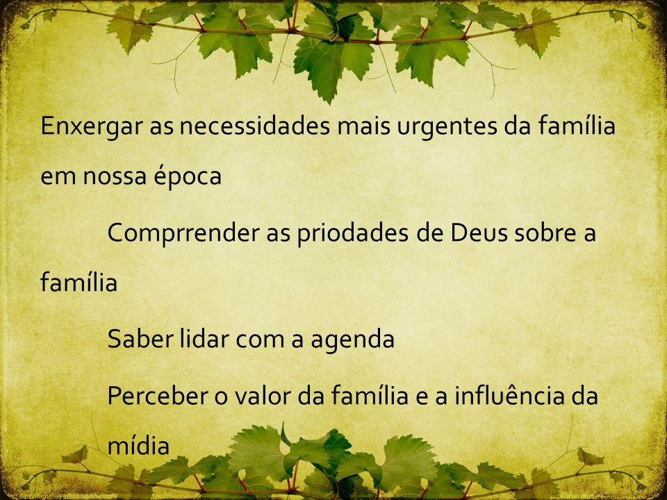 Enxergar as necessidades mais urgentes da família em nossa época Comprrender as priodades de Deus sobre a família Saber lidar com a agenda Perceber o