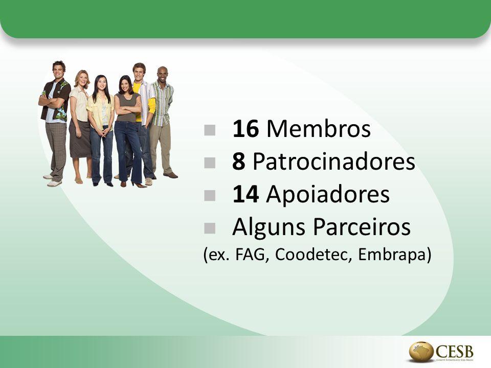 16 Membros 8 Patrocinadores 14 Apoiadores Alguns Parceiros (ex. FAG, Coodetec, Embrapa)