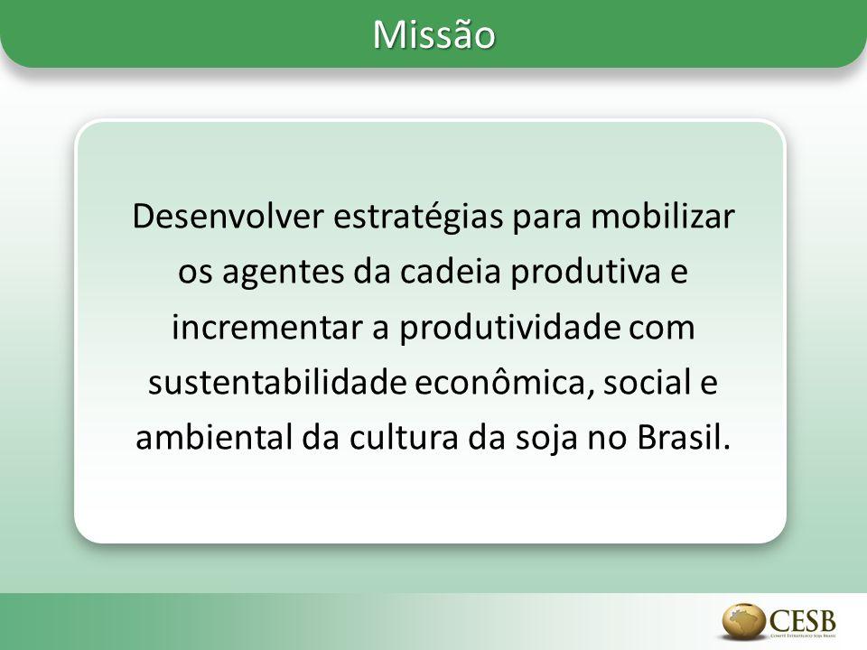 Missão Desenvolver estratégias para mobilizar os agentes da cadeia produtiva e incrementar a produtividade com sustentabilidade econômica, social e ambiental da cultura da soja no Brasil.