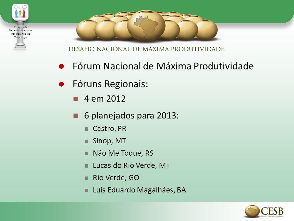 Fórum Nacional de Máxima Produtividade Fóruns Regionais: 4 em 2012 6 planejados para 2013: Castro, PR Sinop, MT Não Me Toque, RS Lucas do Rio Verde, M