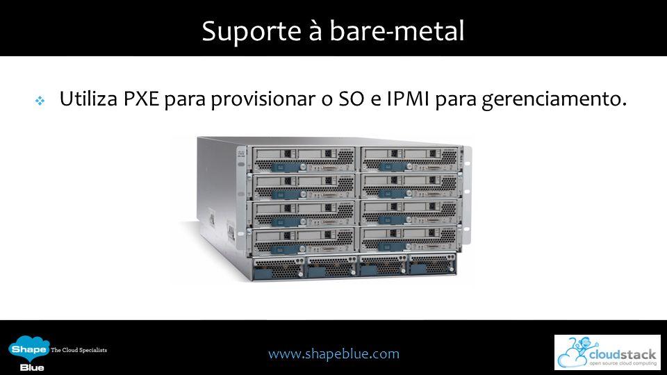 www.shapeblue.com Suporte à bare-metal Utiliza PXE para provisionar o SO e IPMI para gerenciamento.