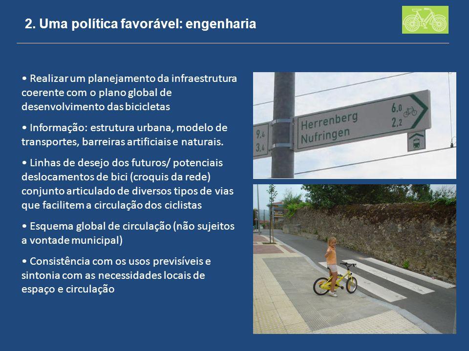 2. Uma política favorável: engenharia Realizar um planejamento da infraestrutura coerente com o plano global de desenvolvimento das bicicletas Informa