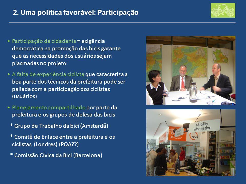 2. Uma política favorável: Participação Participação da cidadania = exigência democrática na promoção das bicis garante que as necessidades dos usuári