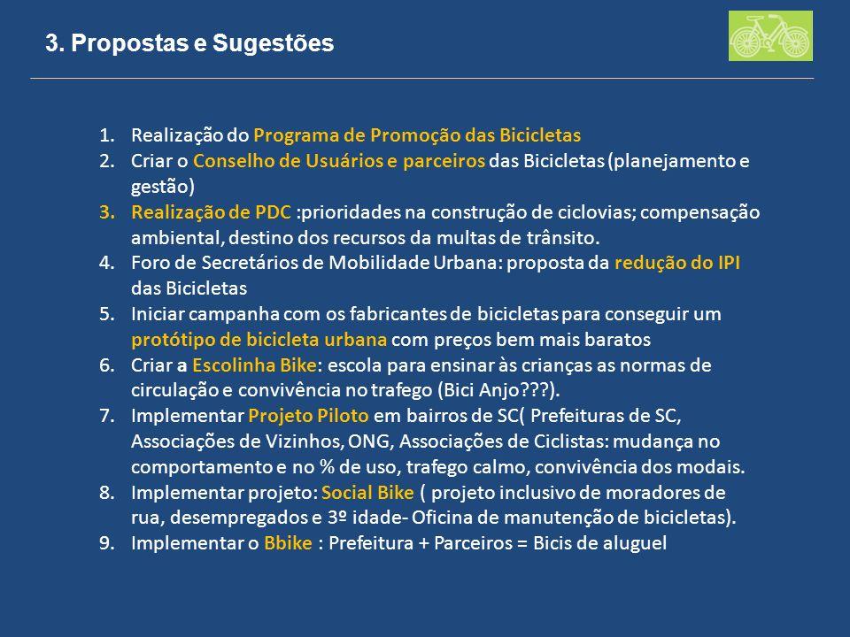 3. Propostas e Sugestões 1.Realização do Programa de Promoção das Bicicletas 2.Criar o Conselho de Usuários e parceiros das Bicicletas (planejamento e
