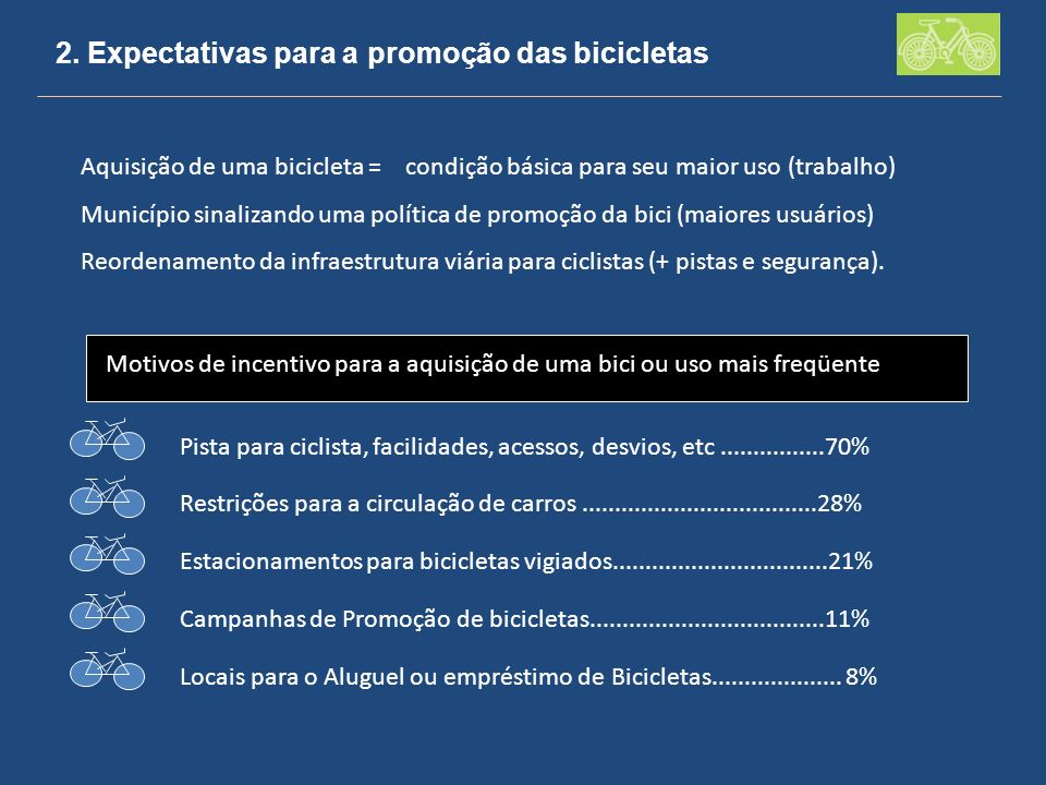 2. Expectativas para a promoção das bicicletas Aquisição de uma bicicleta = condição básica para seu maior uso (trabalho) Município sinalizando uma po