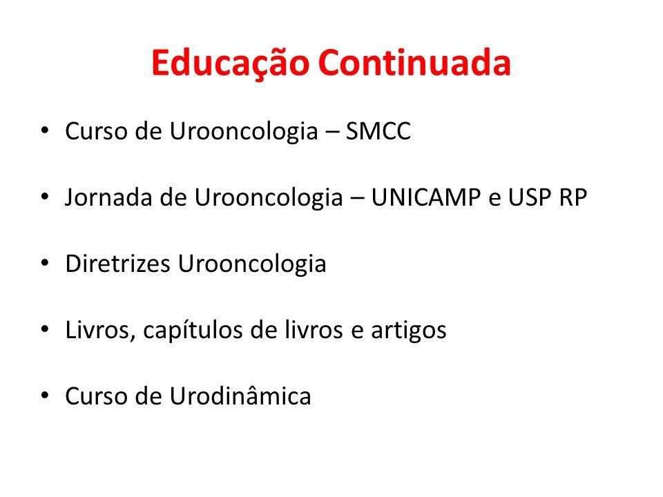 Educação Continuada Curso de Urooncologia – SMCC Jornada de Urooncologia – UNICAMP e USP RP Diretrizes Urooncologia Livros, capítulos de livros e arti