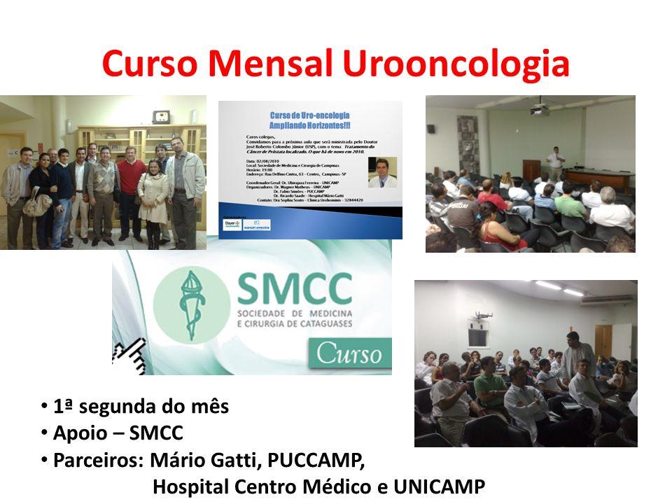 Curso Mensal Urooncologia 1ª segunda do mês Apoio – SMCC Parceiros: Mário Gatti, PUCCAMP, Hospital Centro Médico e UNICAMP