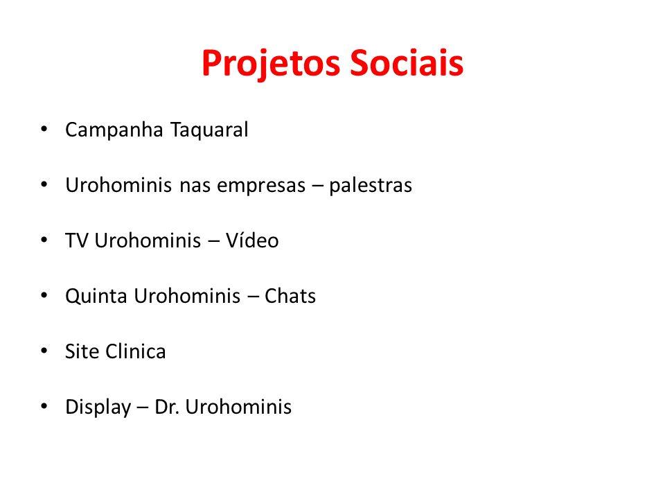 Projetos Sociais Campanha Taquaral Urohominis nas empresas – palestras TV Urohominis – Vídeo Quinta Urohominis – Chats Site Clinica Display – Dr.