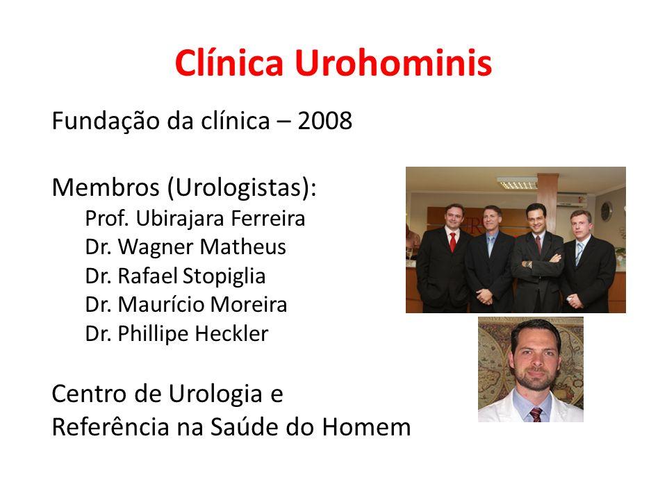 Clínica Urohominis Fundação da clínica – 2008 Membros (Urologistas): Prof. Ubirajara Ferreira Dr. Wagner Matheus Dr. Rafael Stopiglia Dr. Maurício Mor