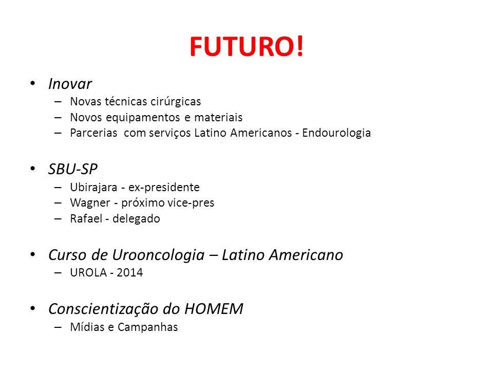 FUTURO! Inovar – Novas técnicas cirúrgicas – Novos equipamentos e materiais – Parcerias com serviços Latino Americanos - Endourologia SBU-SP – Ubiraja