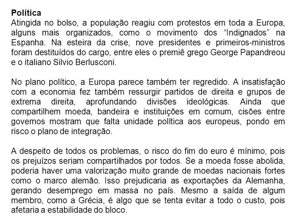 Política Atingida no bolso, a população reagiu com protestos em toda a Europa, alguns mais organizados, como o movimento dos Indignados na Espanha. Na