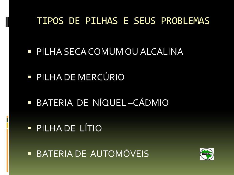 TIPOS DE PILHAS E SEUS PROBLEMAS PILHA SECA COMUM OU ALCALINA PILHA DE MERCÚRIO BATERIA DE NÍQUEL –CÁDMIO PILHA DE LÍTIO BATERIA DE AUTOMÓVEIS