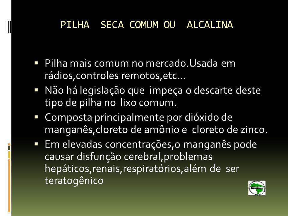 PILHA SECA COMUM OU ALCALINA Pilha mais comum no mercado.Usada em rádios,controles remotos,etc...