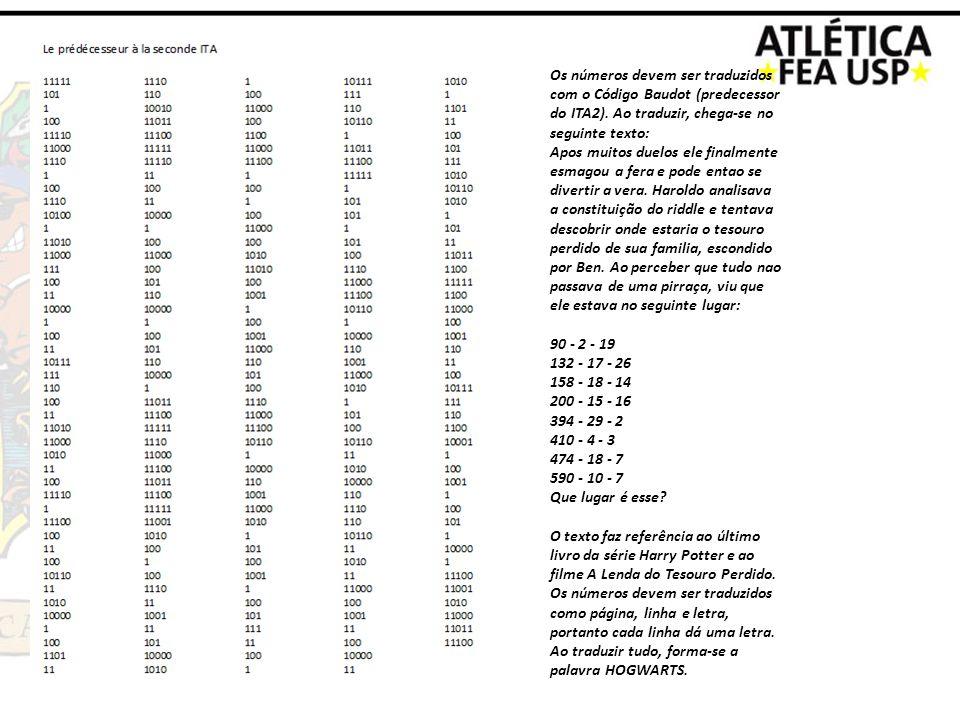 Os números devem ser traduzidos com o Código Baudot (predecessor do ITA2). Ao traduzir, chega-se no seguinte texto: Apos muitos duelos ele finalmente
