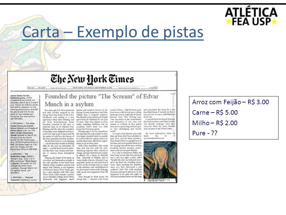 Carta – Exemplo de pistas Arroz com Feijão – R$ 3.00 Carne – R$ 5.00 Milho – R$ 2.00 Pure - ??
