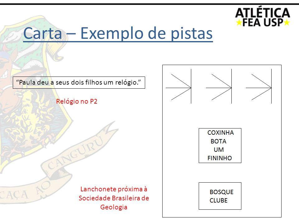 Relógio no P2 Lanchonete próxima à Sociedade Brasileira de Geologia Carta – Exemplo de pistas