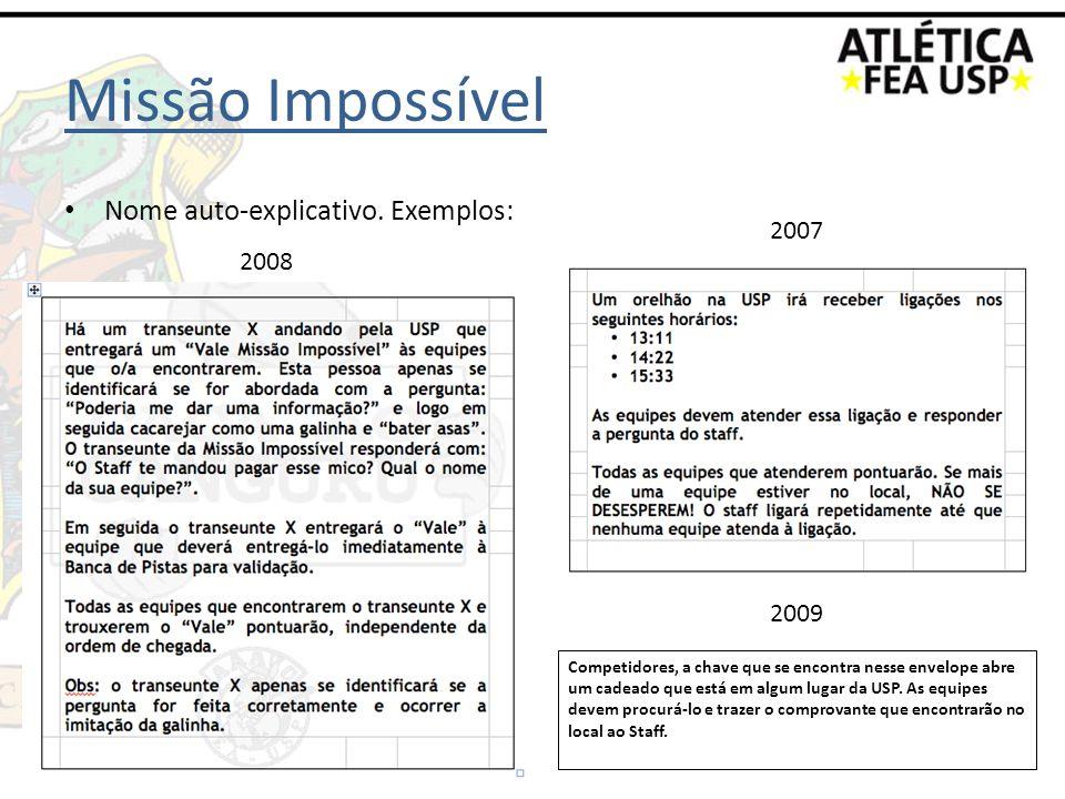 Missão Impossível Nome auto-explicativo. Exemplos: 2008 2007 Competidores, a chave que se encontra nesse envelope abre um cadeado que está em algum lu