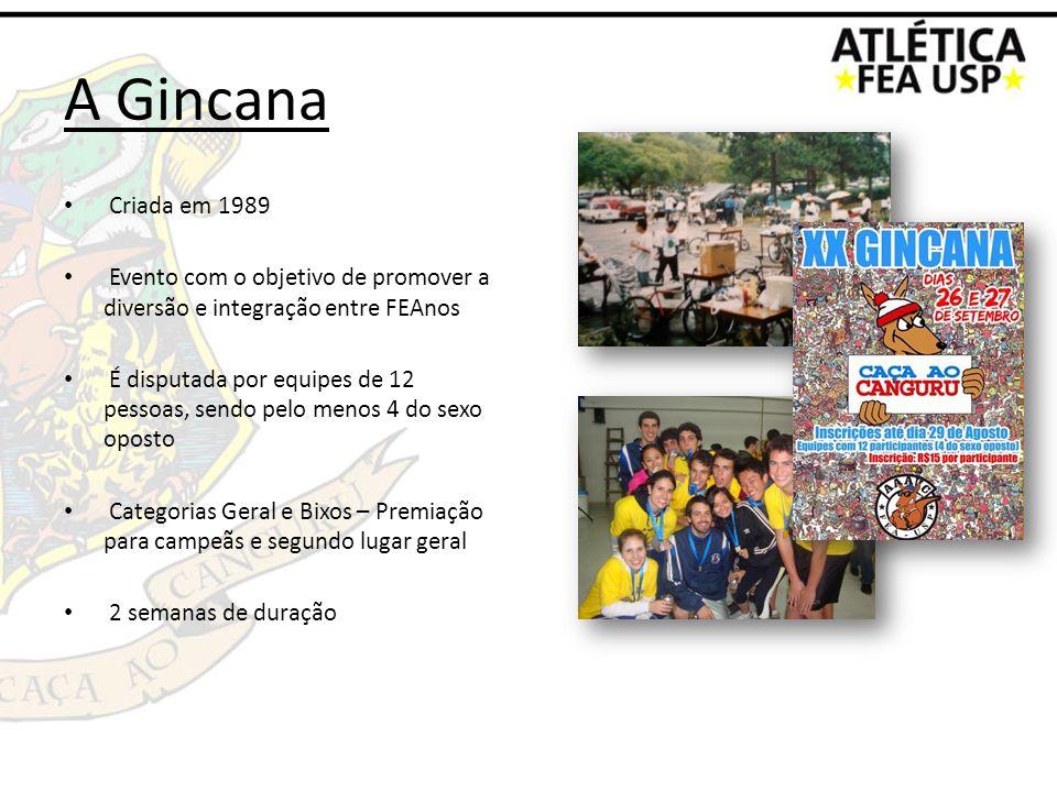A Gincana Criada em 1989 Evento com o objetivo de promover a diversão e integração entre FEAnos É disputada por equipes de 12 pessoas, sendo pelo meno