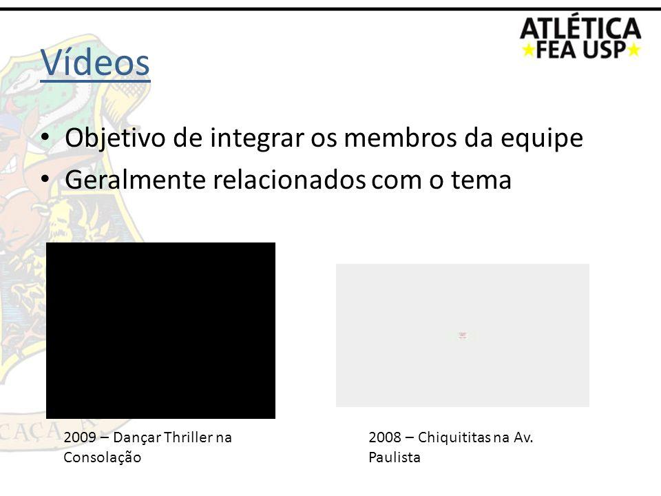 Vídeos Objetivo de integrar os membros da equipe Geralmente relacionados com o tema 2009 – Dançar Thriller na Consolação 2008 – Chiquititas na Av. Pau