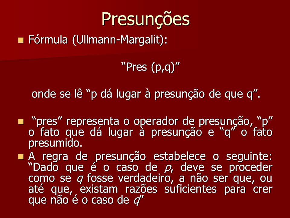Presunções Fórmula (Ullmann-Margalit): Fórmula (Ullmann-Margalit): Pres (p,q) onde se lê p dá lugar à presunção de que q. onde se lê p dá lugar à pres