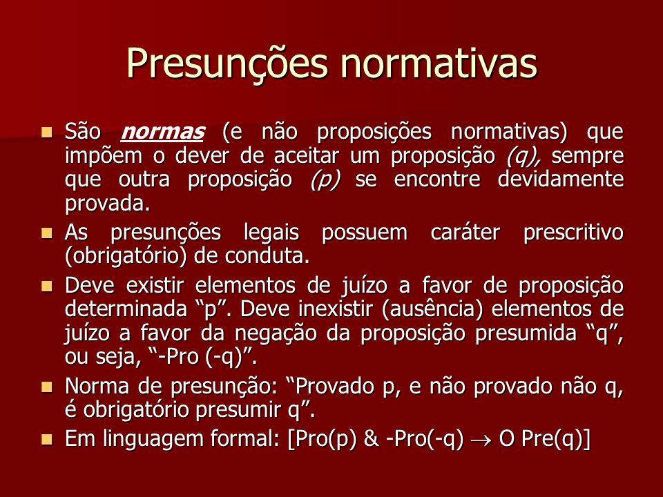 Presunções normativas São (e não proposições normativas) que impõem o dever de aceitar um proposição (q), sempre que outra proposição (p) se encontre