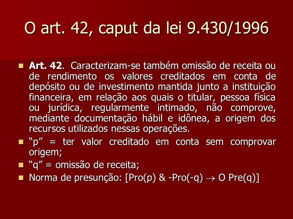 O art. 42, caput da lei 9.430/1996 Art. 42. Caracterizam-se também omissão de receita ou de rendimento os valores creditados em conta de depósito ou d