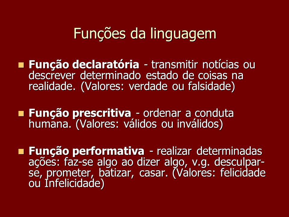 Funções da linguagem Função declaratória - transmitir notícias ou descrever determinado estado de coisas na realidade. (Valores: verdade ou falsidade)