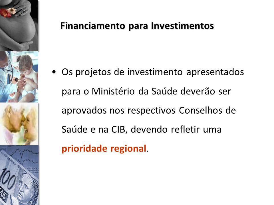 Financiamento para Investimentos Os projetos de investimento apresentados para o Ministério da Saúde deverão ser aprovados nos respectivos Conselhos de Saúde e na CIB, devendo refletir uma prioridade regional.