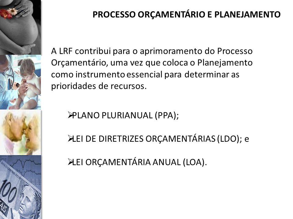 PROCESSO ORÇAMENTÁRIO E PLANEJAMENTO A LRF contribui para o aprimoramento do Processo Orçamentário, uma vez que coloca o Planejamento como instrumento essencial para determinar as prioridades de recursos.