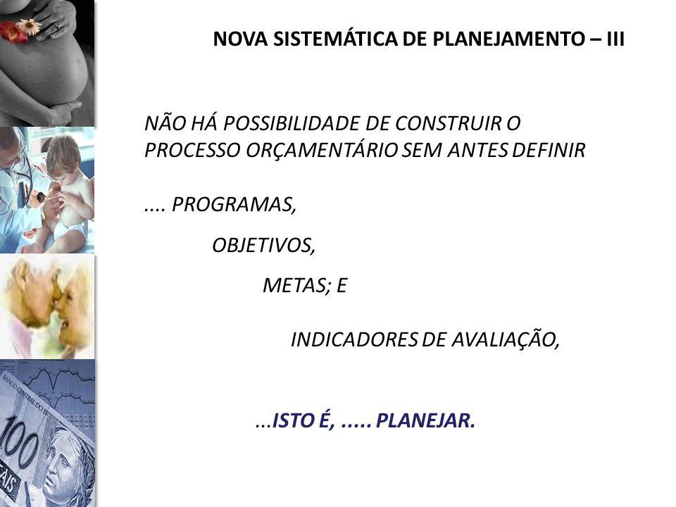 NOVA SISTEMÁTICA DE PLANEJAMENTO – III NÃO HÁ POSSIBILIDADE DE CONSTRUIR O PROCESSO ORÇAMENTÁRIO SEM ANTES DEFINIR....
