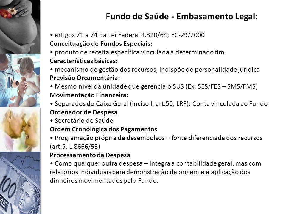 Fundo de Saúde - Embasamento Legal: artigos 71 a 74 da Lei Federal 4.320/64; EC-29/2000 Conceituação de Fundos Especiais: produto de receita específica vinculada a determinado fim.