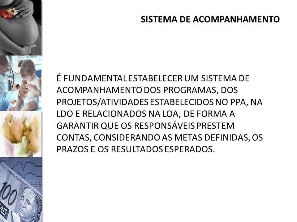 SISTEMA DE ACOMPANHAMENTO É FUNDAMENTAL ESTABELECER UM SISTEMA DE ACOMPANHAMENTO DOS PROGRAMAS, DOS PROJETOS/ATIVIDADES ESTABELECIDOS NO PPA, NA LDO E RELACIONADOS NA LOA, DE FORMA A GARANTIR QUE OS RESPONSÁVEIS PRESTEM CONTAS, CONSIDERANDO AS METAS DEFINIDAS, OS PRAZOS E OS RESULTADOS ESPERADOS.