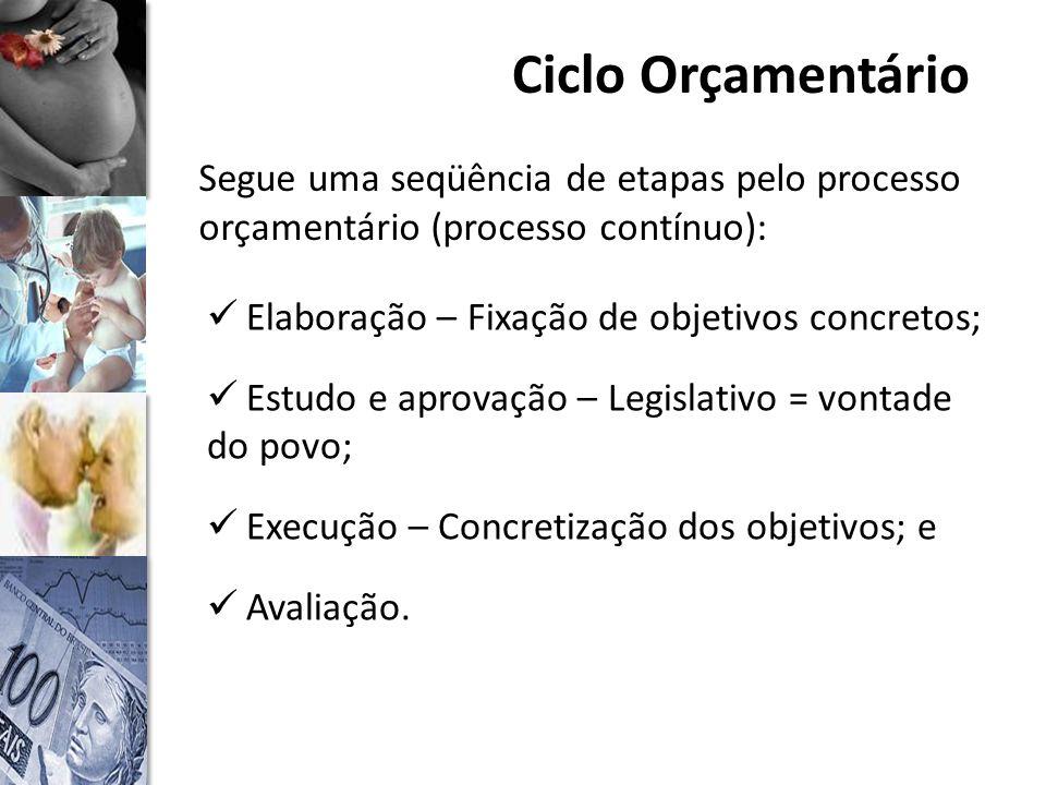 Ciclo Orçamentário Segue uma seqüência de etapas pelo processo orçamentário (processo contínuo): Elaboração – Fixação de objetivos concretos; Estudo e aprovação – Legislativo = vontade do povo; Execução – Concretização dos objetivos; e Avaliação.