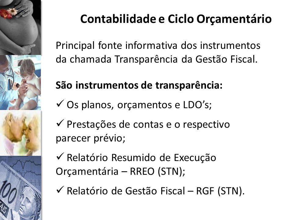 Contabilidade e Ciclo Orçamentário Principal fonte informativa dos instrumentos da chamada Transparência da Gestão Fiscal.