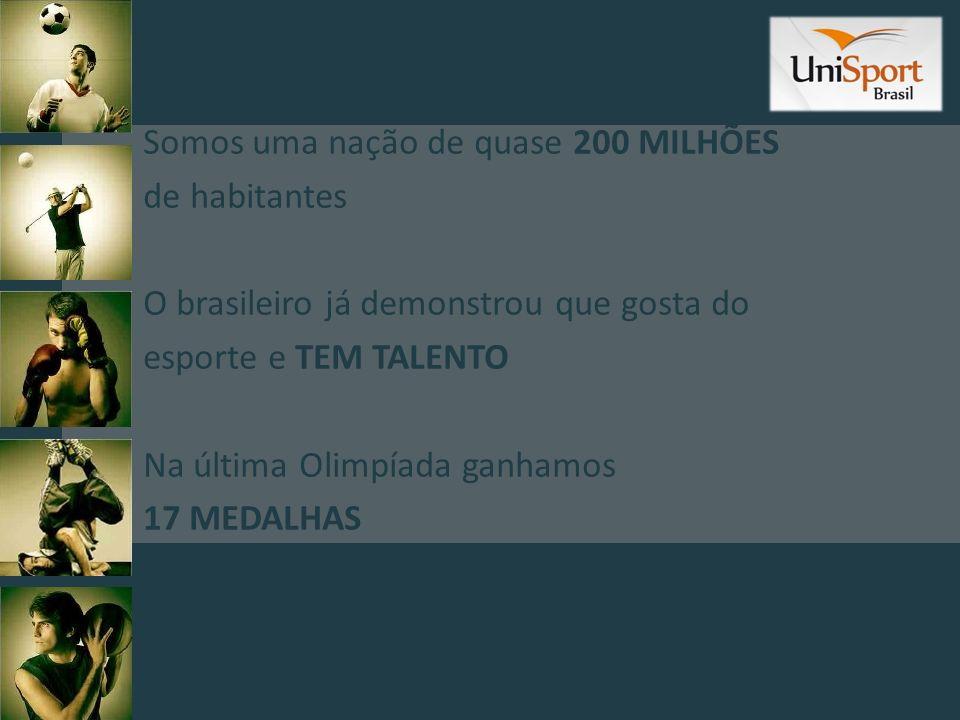 Somos uma nação de quase 200 MILHÕES de habitantes O brasileiro já demonstrou que gosta do esporte e TEM TALENTO Na última Olimpíada ganhamos 17 MEDAL